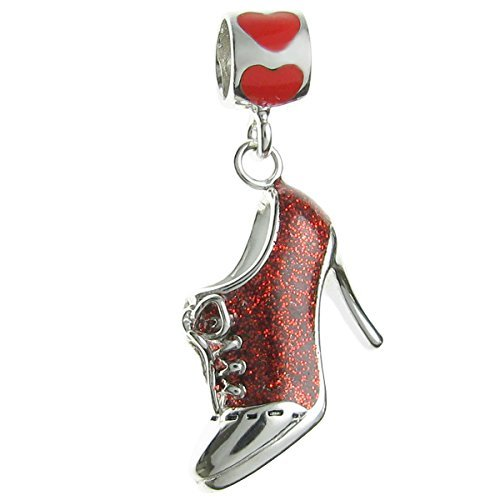 Rhodium-plated Sterling Silver Red Lace High Heel Shoe Enamel European Style Dangle Bead Charm by Queenberry
