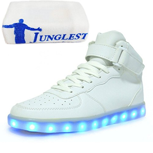 (Present:small towel)JUNGLEST® 7 Colors Led Trainers High Top Light Up S White