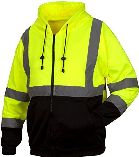 Pyramex RSZH3210L Hi-Vis Lime Safety Zipper Sweatshirt with Black Bottom, Large, - Online Von Zipper