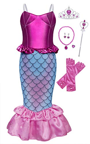 AmzBarley Mermaid Dress for Little Girls Ariel Princess Costume Birthday Theme Party Cosplay Outfit Halloween Fancy Dress Up with Accessories Size 4T(3-4Years)