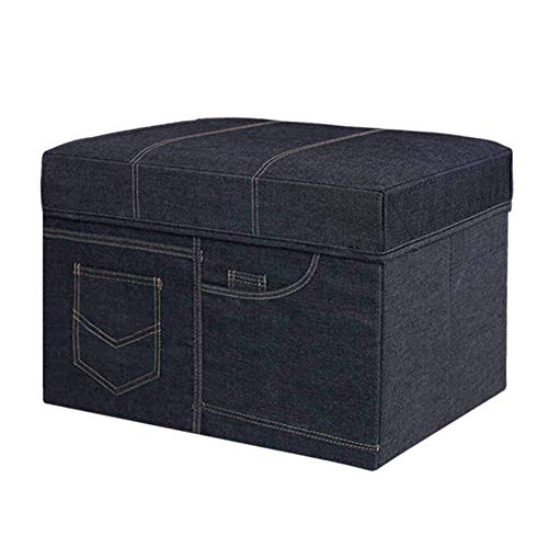 KSDGQ Stool Footstool Sofa Stool Storage Ottoman Folding Bench with Highly Elastic Sponge Filling (Color : Denim Blue, Size : 50 32 31cm)
