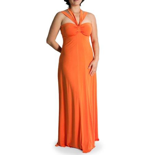 Evanese Women's Plus Size Elegant Cross Tie Halter Long Formal Party Dress 2X, Orange