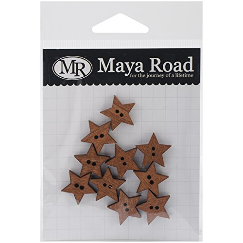 (Maya Road Stained Stars Wooden Buttons 10 Pieces Per Pack , 0.75
