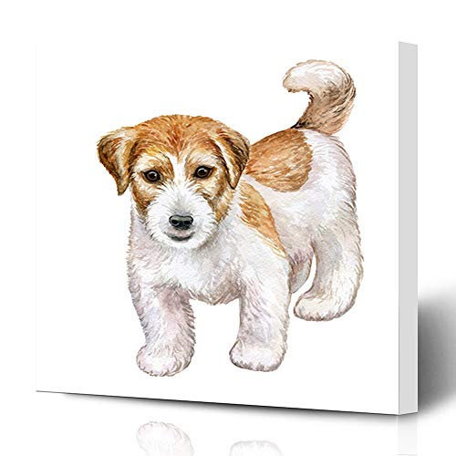 Jack Russell Rough - Ahawoso Canvas Prints Wall Art 16x16 Inches Baby Brown Attentive Dog Jack Russell Terrier Rough Beast Breed Canine Curiosity Design Puppy Decor for Living Room Office Bedroom