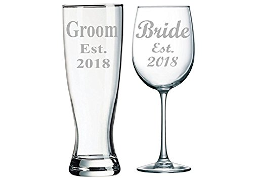 Groom Est. 2018 Pilsner Beer Glass, 23oz. and Bride Est. 2018 Wine Glass, 19oz. (set of 2) by C&M Personal Gifts
