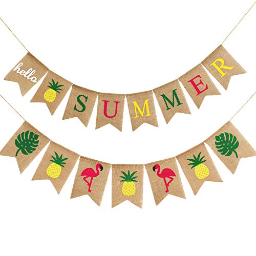 2 Pieces Hello Summer Banner Flamingo Pineapple Palm Leaves Banner Rustic Garland Decorations for Hawaiian Summer Party (Color Set 1)