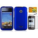 LF 4 in 1 Bundle - Hard Case Cover, Lf Stylus Pen, Screen Protector and Wiper For (Straight Talk , Net10 , T-Mobil) Huawei Inspira H867G / Prism 2 II U8686 (Hard Blue)