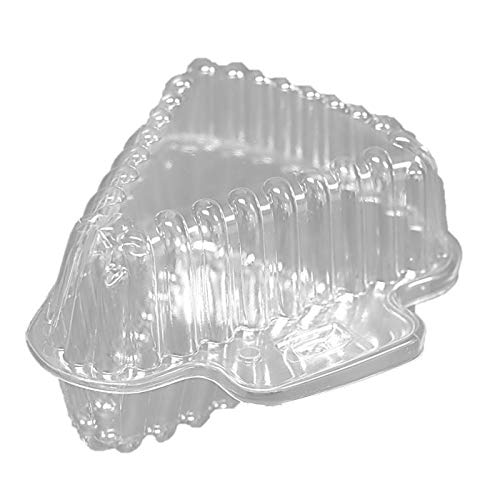 - 25 Clear Plastic Pie Cheesecake Hinged Holders Disposable Wedge Cake Slice Containers.