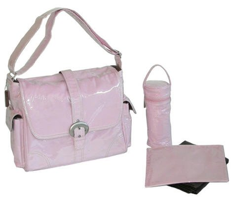 Laminated Flap Buckle Diaper Bag 7 Colors (Pink) by Kalencom
