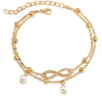 Sexy Women Double Chain Ankle Beads Anklet Bracelet Barefoot Sandal Beach LOVE STORY (Gold)