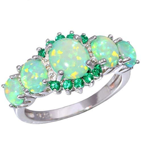 MARRLY.H Lavish Big Green Fire Opal Stone Filled Rings Silver Plated CZ Zirconia Crystal Bohemia Jewelry Woman Green 9