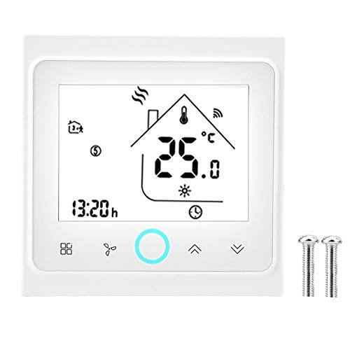Junluck Thermostat, Programmable Thermostat, 2/4 Pipe WiFi Smart Thermostat LCD Touch Screen Central Air Conditioning Thermostat Temperature Controller(2 Pipe)