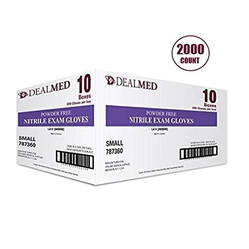 Dealmed Brand Nitrile Medical Grade Exam Gloves, Disposable, Latex-Free, 2000 Count, Size Small from Dealmed