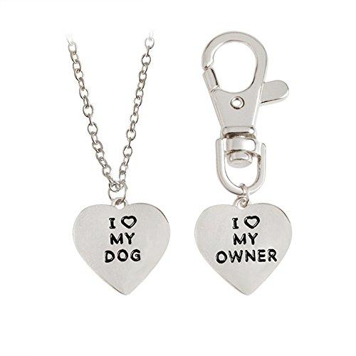 Womens Dog - Romanticworks 2pcs Friendship Jewelry Dog Bone Best Friends Charm Necklace Keychain BFF Bones Design (dog & owner silver tone)