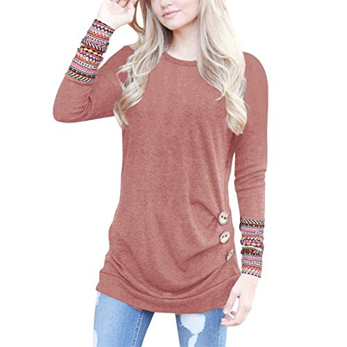 Mikey Store Women Long Sleeve Loose Button Trim Blouse Patchwork Round Neck Tunic T-Shirt ()