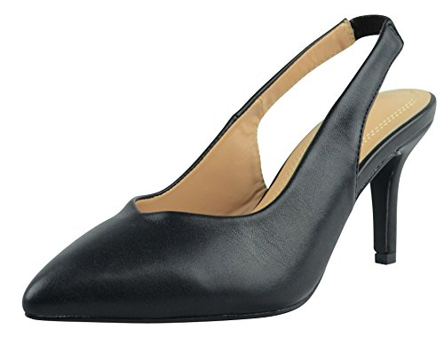 Cambridge Select Women's Closed Pointed Toe Stretch Slingback Mid Heel Pump (6 B(M) US, Black (Black Stretch Pump)