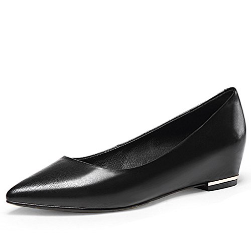 Inside BalaMasa On Black Uppers Cow Pull Ladies Leather Low Pumps Cut Heighten Shoes 4q6rEq