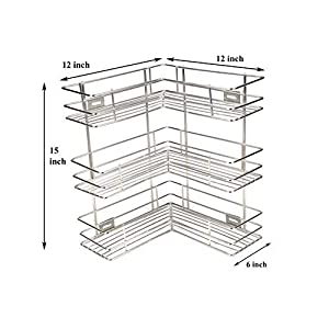 Gehwara L Shape Stainless Steel 3 Tier Corner Shelf/Cutlery Stand/Kitchen Utensils Rack/Modern Kitchen Storage Rack…