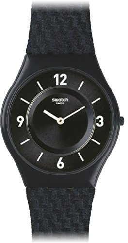 (Swatch Unisex Analogue Classic Quartz Watch with Leather Strap SFN123)