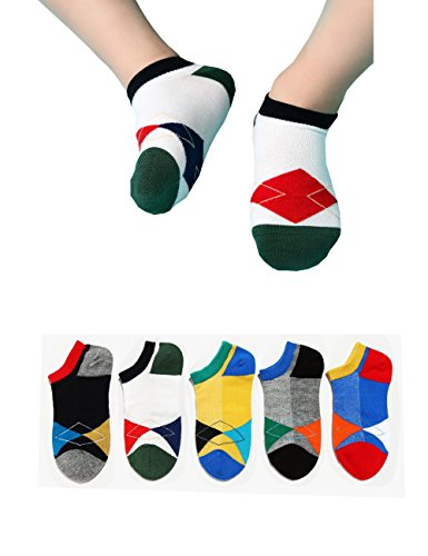 Day Wacky Outfits (Kids Argyle Diamond Lattice No Show Low Cut Contrast Colors Crew Cotton Contrast Colors Socks Non Skid for 1t 5t-8t Boys and Girls 5 Pairs Packs 4 5 6 Years)