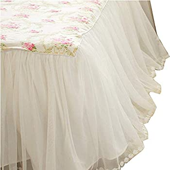 """White Bed Skirt Queen Ruffled Romantic Gathered Sheer Voile Dust Ruffle 15/"""" Drop"""