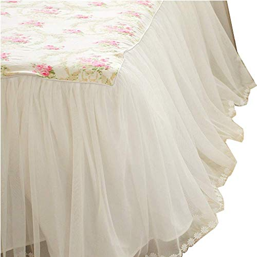 LELVA Dust Ruffled Bed Skirts Queen Size Wrap Around Lace Bed Ruffle with Platform 18 inch Deep Drop Cotton Floral Girls Bed Sheets White (With Skirt Bedspread)