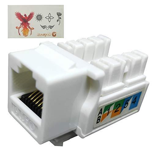 (Linyansz RJ45 Keystone Jack Ethernet Punch Down Cat 5 5e 6 Inserts Network Module (10-Pack White))