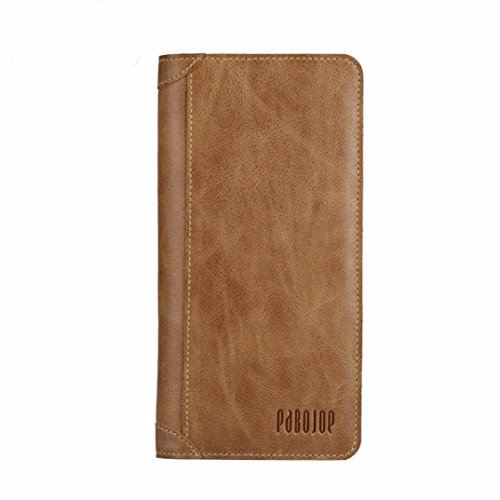 Naladoo Pabojoe Mens Genuine Leather Bifold Wallet Vintage Checkbook Card Purse