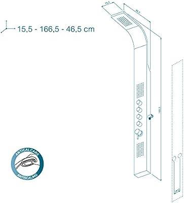 Metaform columna ducha multifunción Danubio, aluminio, 15,5 x 46,5 ...