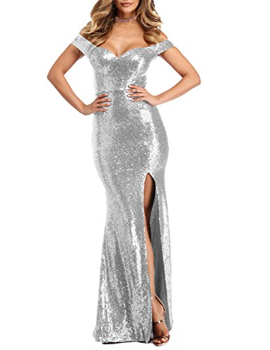 YSMei Women's Long Off Shoulder Sequins Cocktail Party Dress with Split Mermaid Formal Silver ()