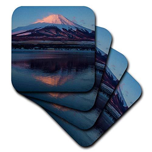 3dRose Danita Delimont - Japan - Japan, Honshu Island. Mt. Fuji and lake at sunrise. - set of 4 Ceramic Tile Coasters (cst_312759_3) ()