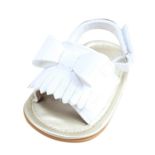 Hunpta Baby Mädchen Quaste Bowknot Sandalen Schuh Schuhe Sneaker Anti-Rutsch Soft Sole Kleinkind Weiß