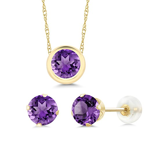 Gem Stone King 2.10 Ct Round Purple Amethyst 14K Yellow Gold Pendant Earrings Set ()