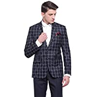 MANQ Men's Slim Fit Formal/Party Check Blazer