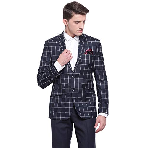 41XdtcKHBOL. SS500  - MANQ Men's Slim Fit Formal/Party Check Blazer