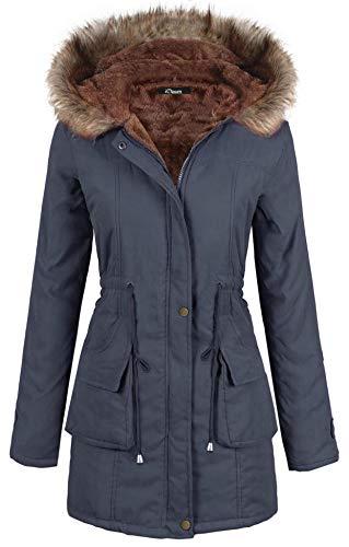 iClosam Women Parka Winter Long Coat Faux Fur Lined Anroak Jacket with Hood Dark Blue ()