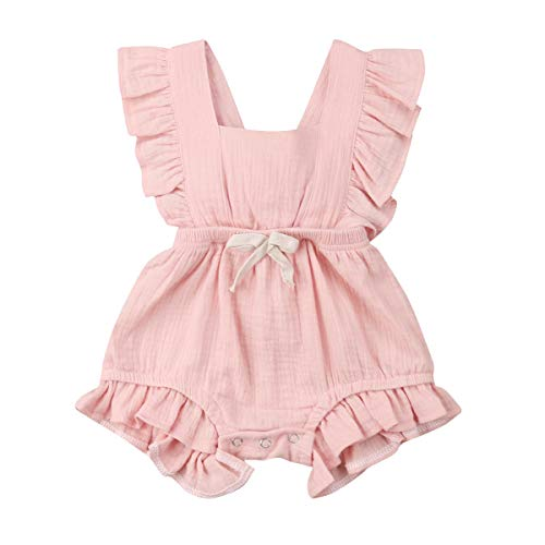 YOUNGER TREE Toddler Baby Girl Ruffled Sleeveless Romper Casual Summer Jumpsuit Cotton Linen Clothes (Pink, 12-18 Months)