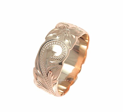 Pink rose gold plated 925 sterling silver Hawaiian 8mm plumeria flower scroll cut out edge ring size 11