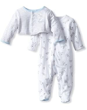 ABSORBA Baby-Boys Newborn Love Footed Coverall and Sweater Set