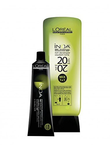 L'Oreal Inoa Professionnel - Ammonia Free - Hair Color Tubes - 6 Tubesxno 5 (Light Brown) + 1 PC Inoa Developer 20 Vol(6%) 1000 Ml by L'Oreal Paris