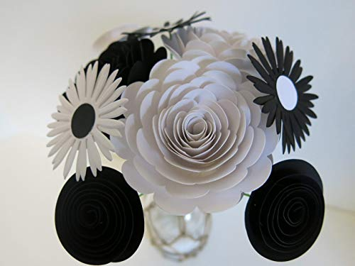 - Classic Black and White Flower Bouquet, 9 Handmade Card Stock Flowers on Stems, Roses and Daisies