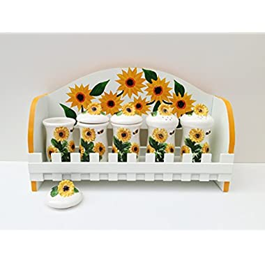COUNTRY 3-D SUNFLOWER KITCHEN 5PC SPICE SPICE JARS WITH RACK SET, 83044 BY ACK