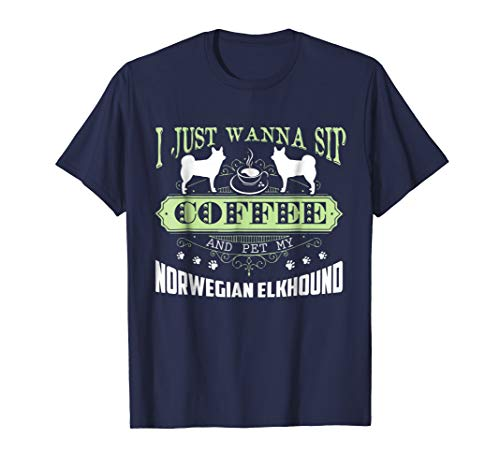 Mens Norwegian Elkhound T shirt - Norwegian Elkhound Shirt Large Navy