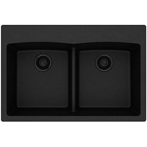 - Elkay ELGDLB3322BK0 Quartz Classic Equal Double Bowl Drop-in Sink with Aqua Divide, Black