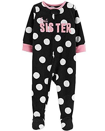 Carter's Girls' Zippered Fleece One-Piece Footie Pajamas (Best Sister, 3T)