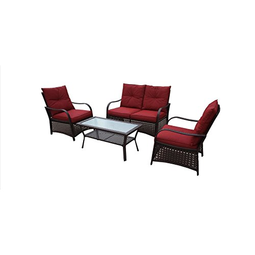 Catalina Outdoor Sofa (DG Casa Catalina Red Loveseat, 2 Chairs and Table Set)