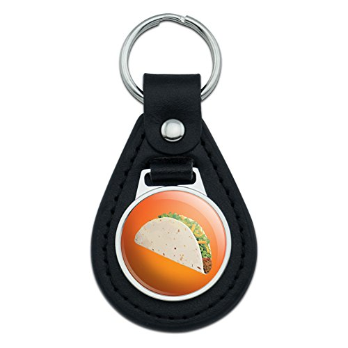 Graphics and More Taco Orange Black Leather Keychain ()