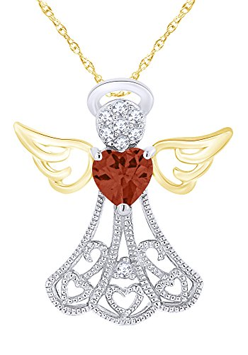 Valentine Sale Simulated Birthstone with Diamond Accent Angel Pendant Necklace in 14K Gold Over Sterling Silver