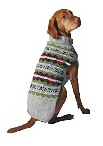 Chilly Dog Fair Isle Dog Sweater, X-Small, Grey by Chilly Dog