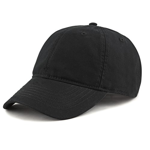 THE HAT DEPOT 100% Cotton Canvas 6-Panel Low-Profile Adjustable Dad Baseball Cap (Black)